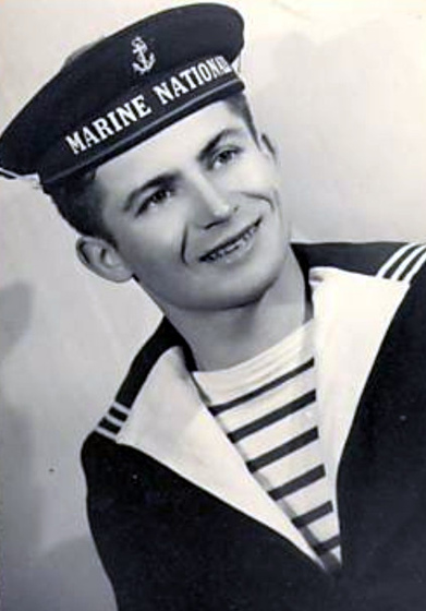French navy uniform with a Breton stripe top