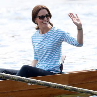 Kate Middleton wearing a breton stripe top