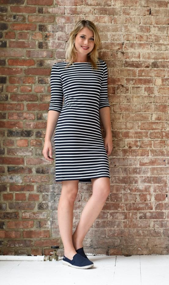 Saint James Propriano dress in navy and white